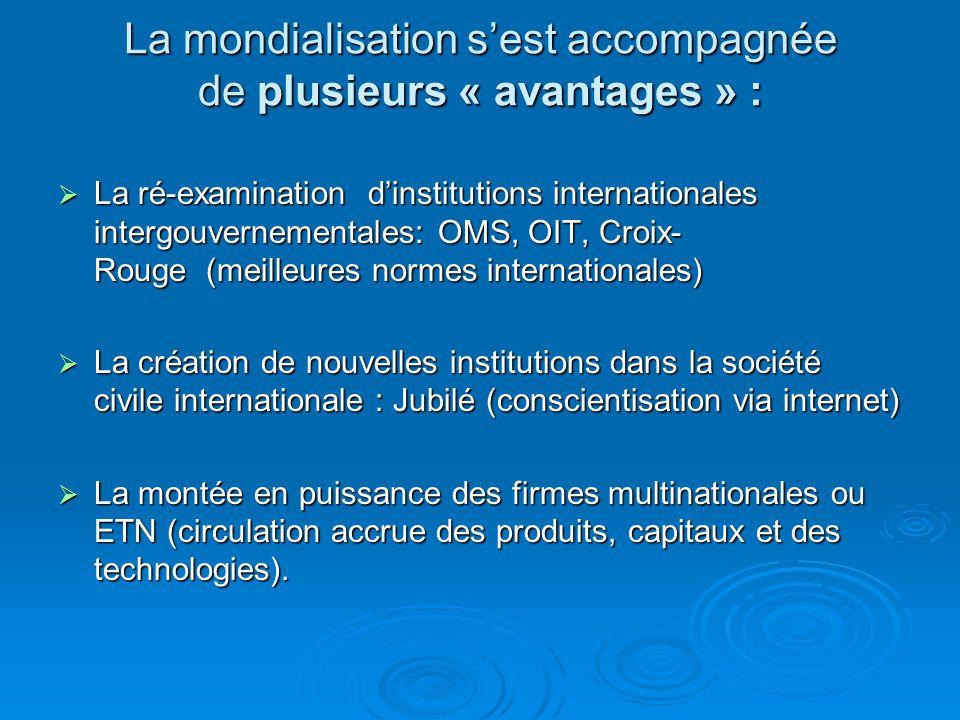 La mondialisation sest accompagnée de plusieurs « avantages » : La ré-examination dinstitutions internationales intergouvernementales: OMS, OIT, Croix
