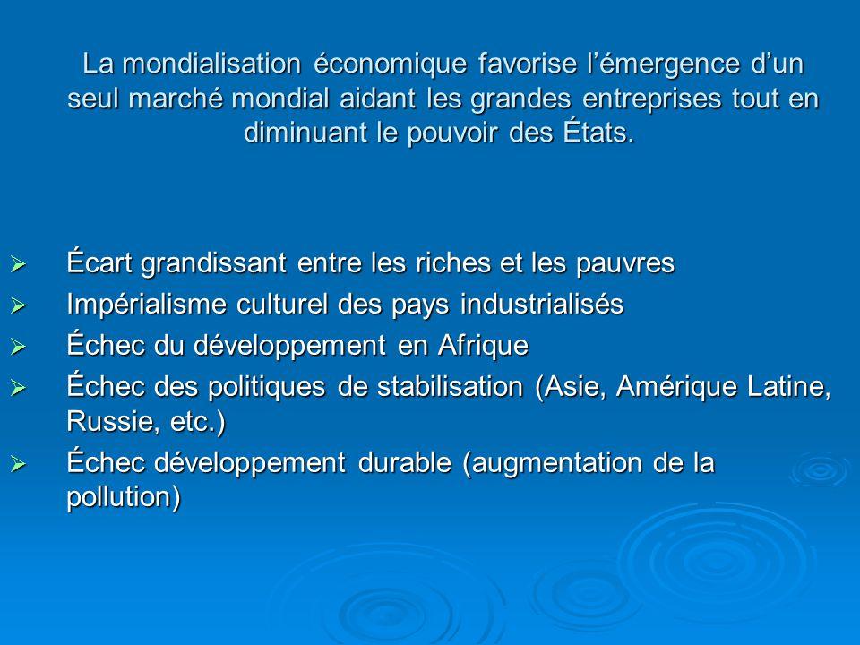 Mondialisation économique + néolibéralisme = Danger .