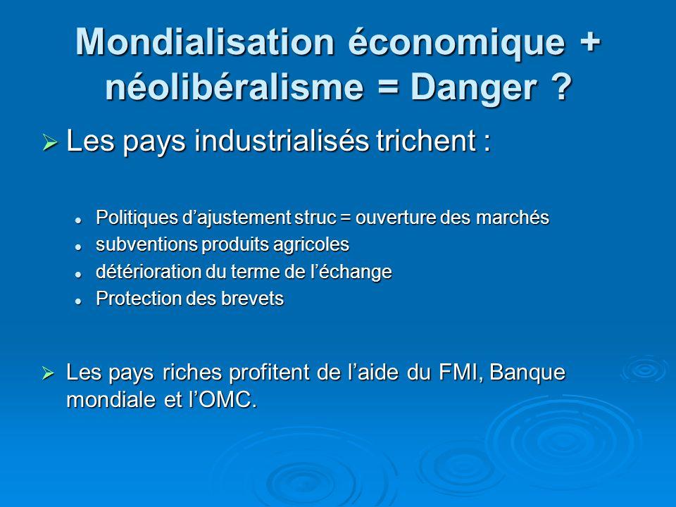 Mondialisation économique + néolibéralisme = Danger ? Les pays industrialisés trichent : Les pays industrialisés trichent : Politiques dajustement str