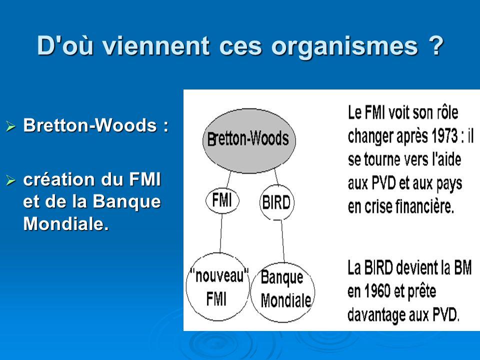 D'où viennent ces organismes ? Bretton-Woods : Bretton-Woods : création du FMI et de la Banque Mondiale. création du FMI et de la Banque Mondiale.
