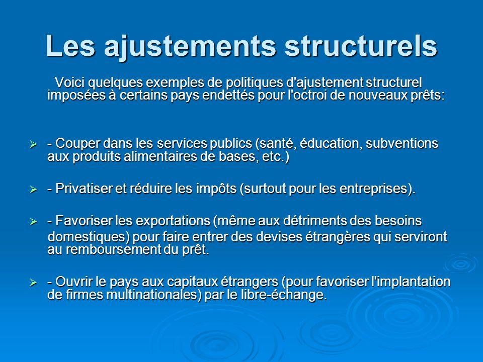 Les ajustements structurels Voici quelques exemples de politiques d'ajustement structurel imposées à certains pays endettés pour l'octroi de nouveaux