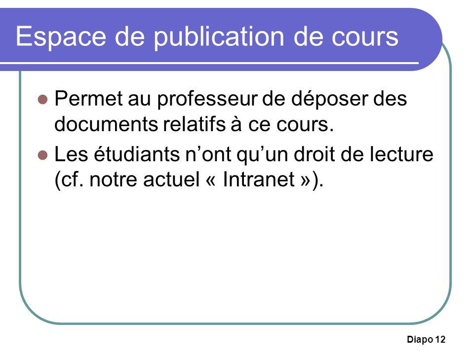 Diapo 12 Espace de publication de cours Permet au professeur de déposer des documents relatifs à ce cours. Les étudiants nont quun droit de lecture (c