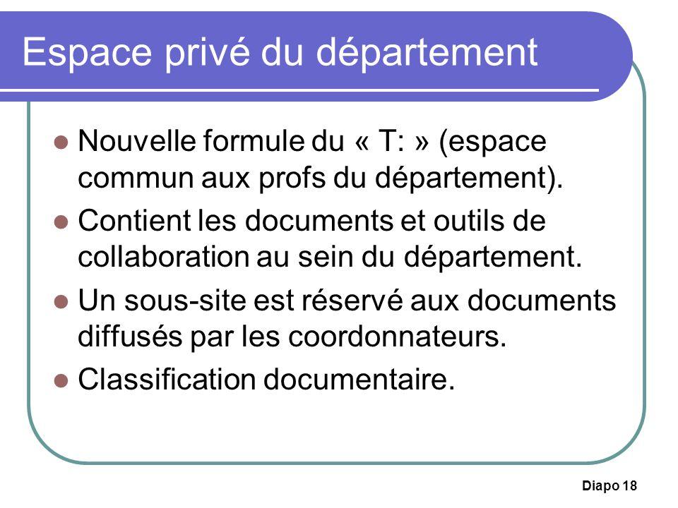 Diapo 18 Espace privé du département Nouvelle formule du « T: » (espace commun aux profs du département). Contient les documents et outils de collabor