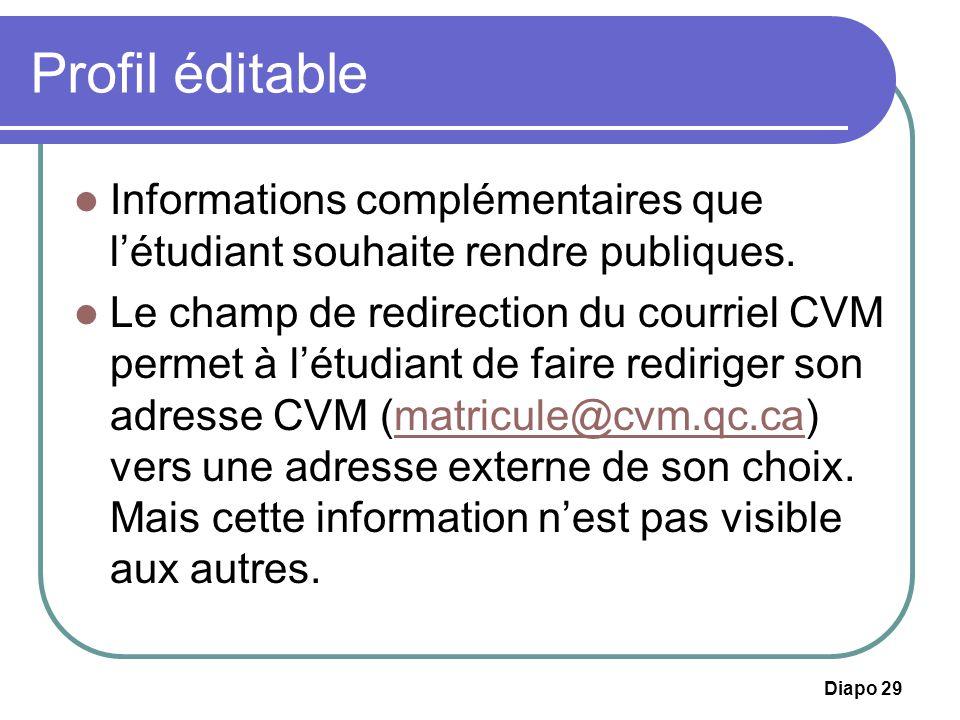 Diapo 29 Profil éditable Informations complémentaires que létudiant souhaite rendre publiques. Le champ de redirection du courriel CVM permet à létudi