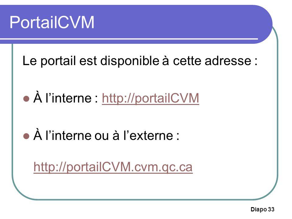 Diapo 33 PortailCVM Le portail est disponible à cette adresse : À linterne : http://portailCVMhttp://portailCVM À linterne ou à lexterne : http://port