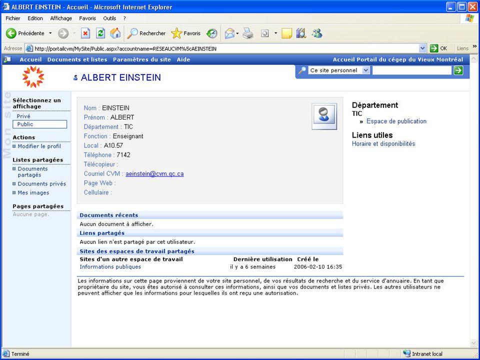 Diapo 8 Profil éditable Informations complémentaires que le professeur souhaite rendre publiques.