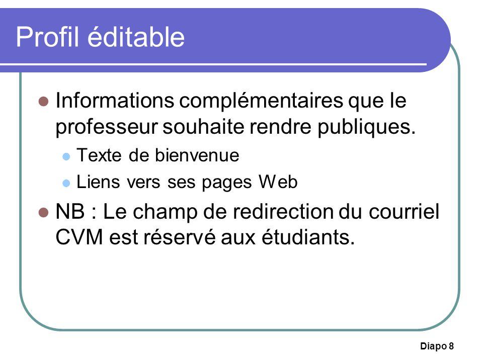 Diapo 29 Profil éditable Informations complémentaires que létudiant souhaite rendre publiques.