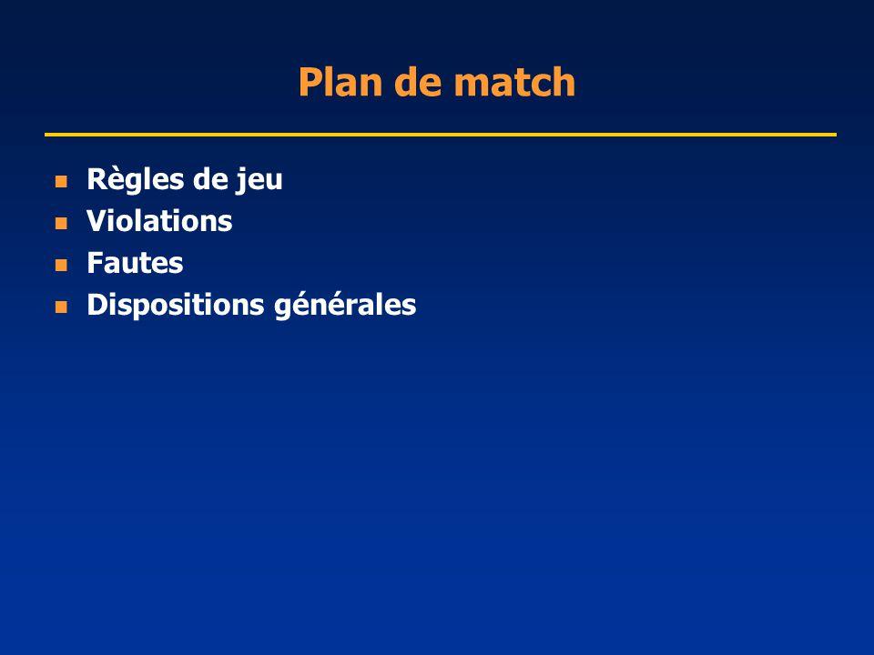 Plan de match Règles de jeu Violations Fautes Dispositions générales