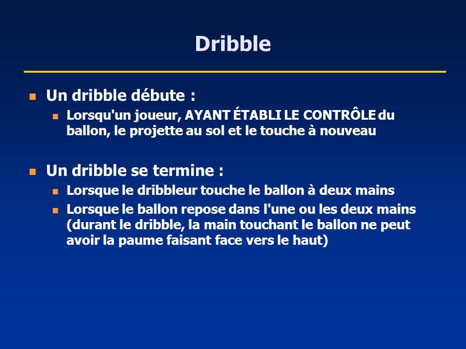 Dribble Un dribble débute : Lorsqu'un joueur, AYANT ÉTABLI LE CONTRÔLE du ballon, le projette au sol et le touche à nouveau Un dribble se termine : Lo