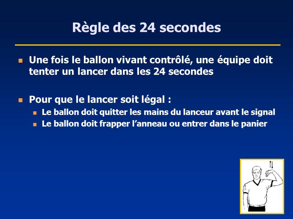 Règle des 24 secondes Une fois le ballon vivant contrôlé, une équipe doit tenter un lancer dans les 24 secondes Pour que le lancer soit légal : Le bal