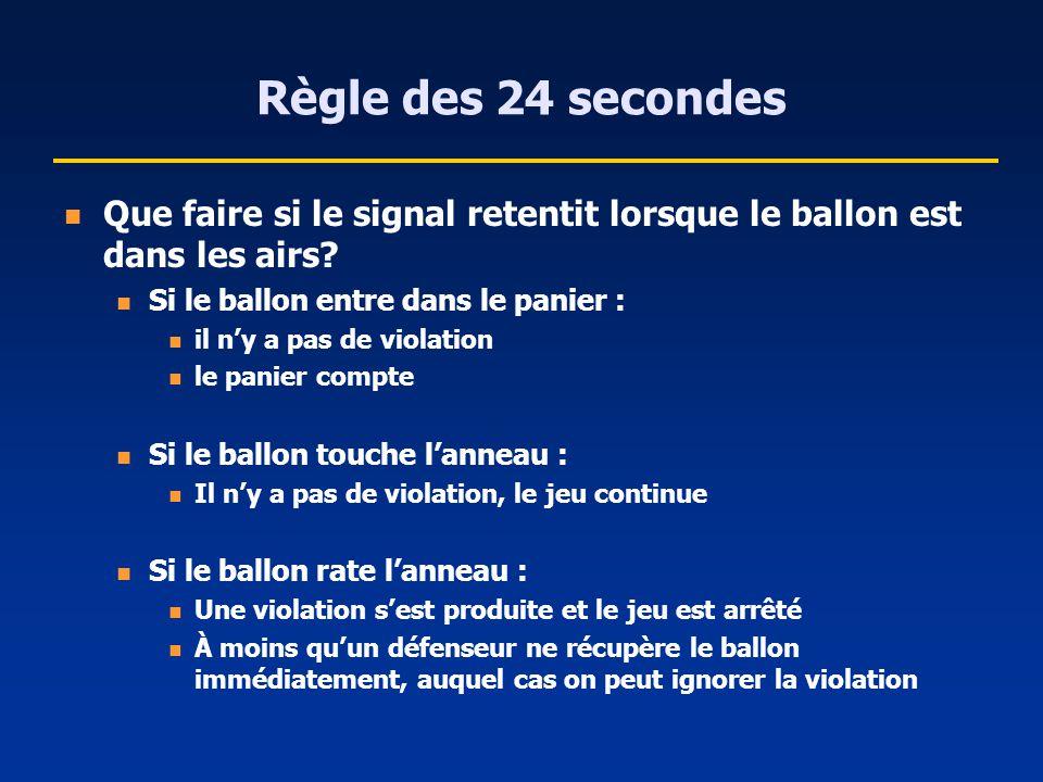 Règle des 24 secondes Que faire si le signal retentit lorsque le ballon est dans les airs? Si le ballon entre dans le panier : il ny a pas de violatio