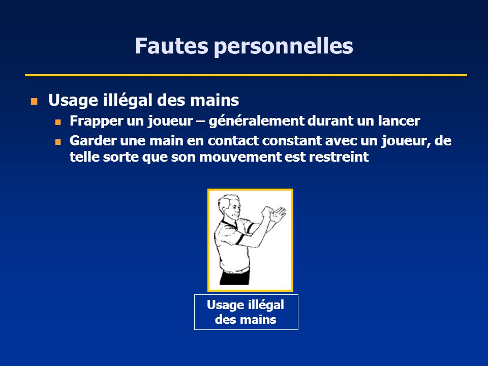 Fautes personnelles Usage illégal des mains Frapper un joueur – généralement durant un lancer Garder une main en contact constant avec un joueur, de t