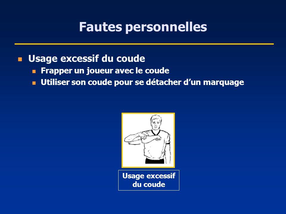 Fautes personnelles Usage excessif du coude Frapper un joueur avec le coude Utiliser son coude pour se détacher dun marquage Usage excessif du coude