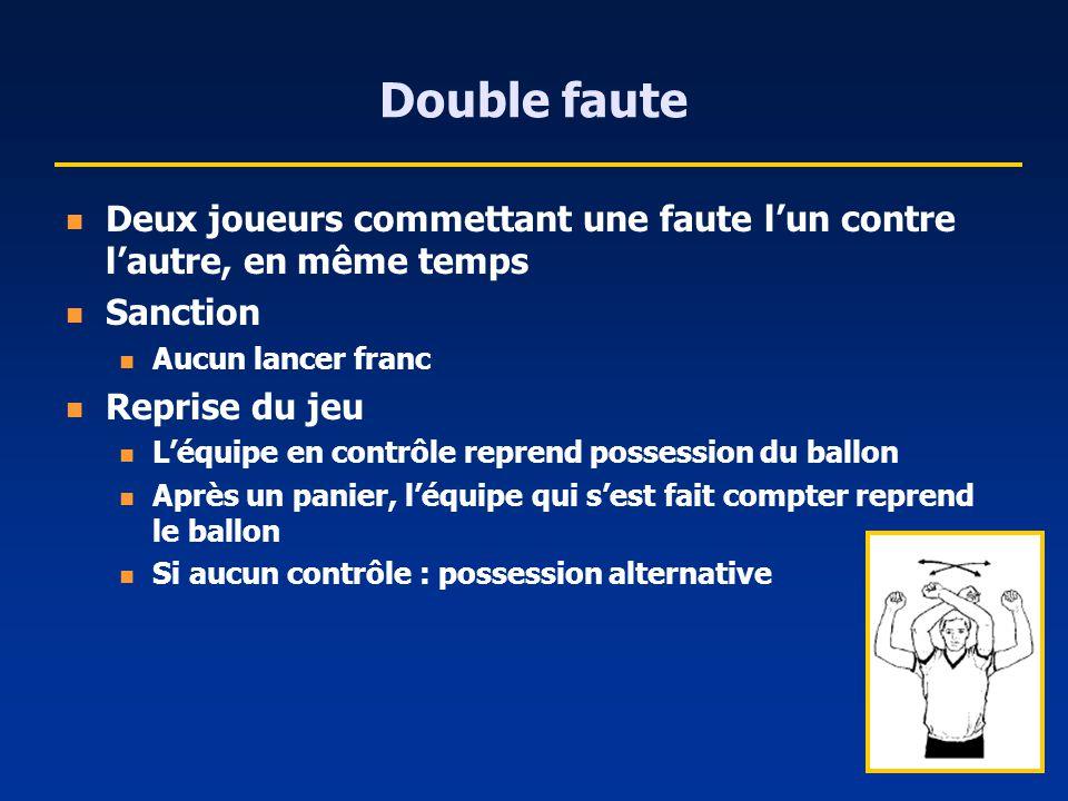 Double faute Deux joueurs commettant une faute lun contre lautre, en même temps Sanction Aucun lancer franc Reprise du jeu Léquipe en contrôle reprend