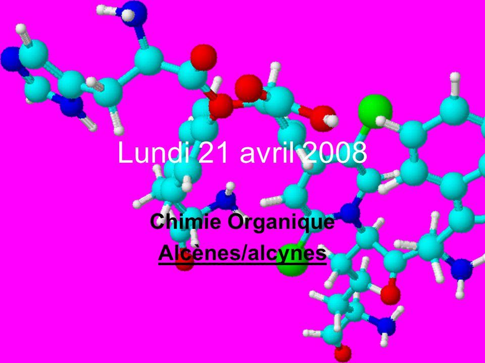 Lundi 21 avril 2008 Chimie Organique Alcènes/alcynes