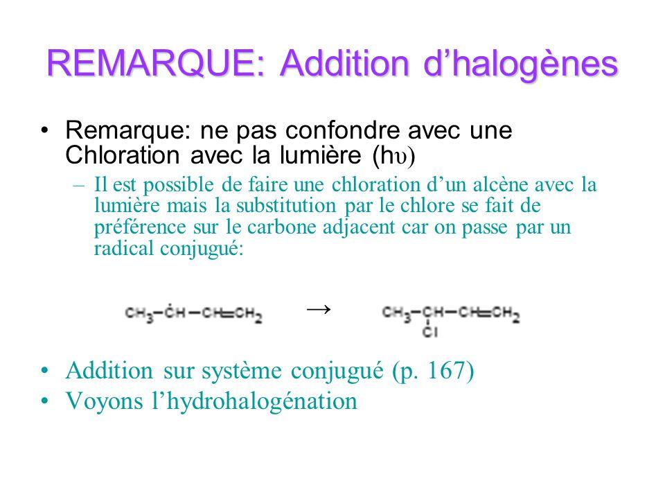 REMARQUE: Addition dhalogènes Remarque: ne pas confondre avec une Chloration avec la lumière (h υ) –Il est possible de faire une chloration dun alcène