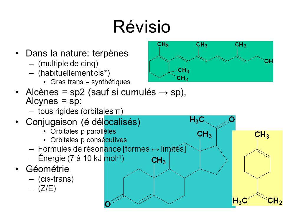Révisio Dans la nature: terpènes –(multiple de cinq) –(habituellement cis*) Gras trans = synthétiques Alcènes = sp2 (sauf si cumulés sp), Alcynes = sp