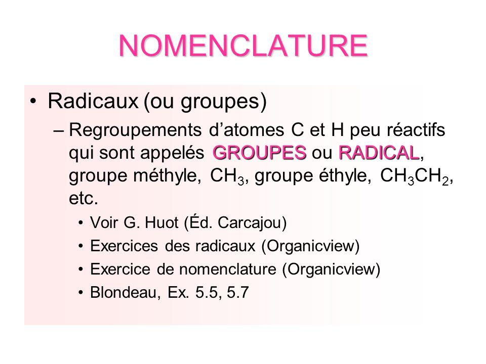 NOMENCLATURE Radicaux (ou groupes) GROUPESRADICAL –Regroupements datomes C et H peu réactifs qui sont appelés GROUPES ou RADICAL, groupe méthyle, CH 3