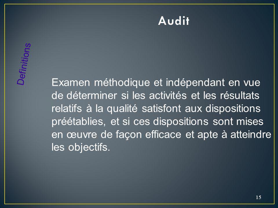 15 Examen méthodique et indépendant en vue de déterminer si les activités et les résultats relatifs à la qualité satisfont aux dispositions préétablies, et si ces dispositions sont mises en œuvre de façon efficace et apte à atteindre les objectifs.