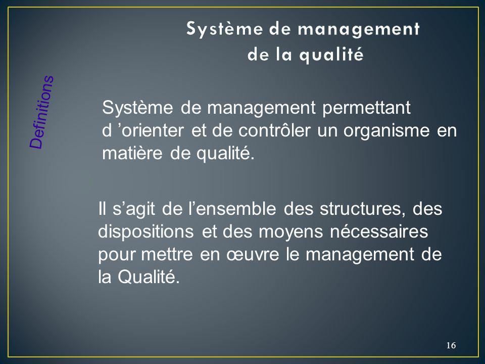 16 Système de management permettant d orienter et de contrôler un organisme en matière de qualité. Definitions Il sagit de lensemble des structures, d