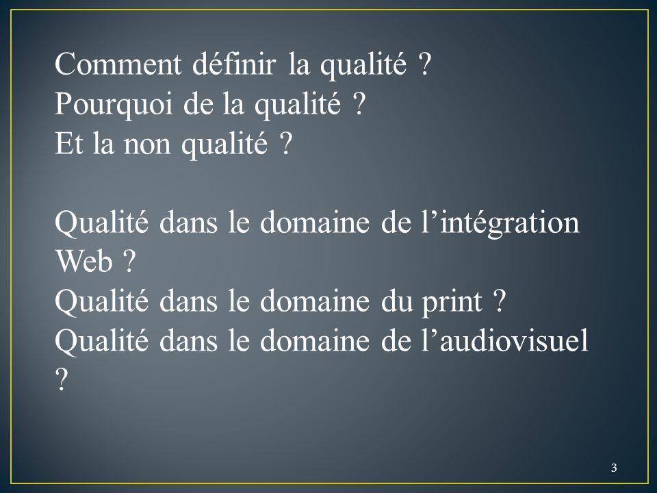 3 Comment définir la qualité ? Pourquoi de la qualité ? Et la non qualité ? Qualité dans le domaine de lintégration Web ? Qualité dans le domaine du p