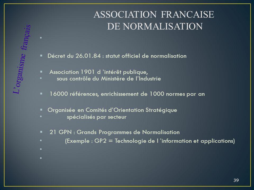 Décret du 26.01.84 : statut officiel de normalisation Association 1901 d intérêt publique, sous contrôle du Ministère de lIndustrie 16000 références,