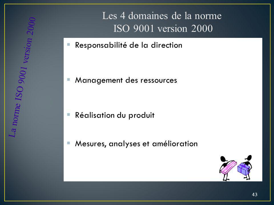 Responsabilité de la direction Management des ressources Réalisation du produit Mesures, analyses et amélioration 43 Les 4 domaines de la norme ISO 9001 version 2000 La norme ISO 9001 version 2000