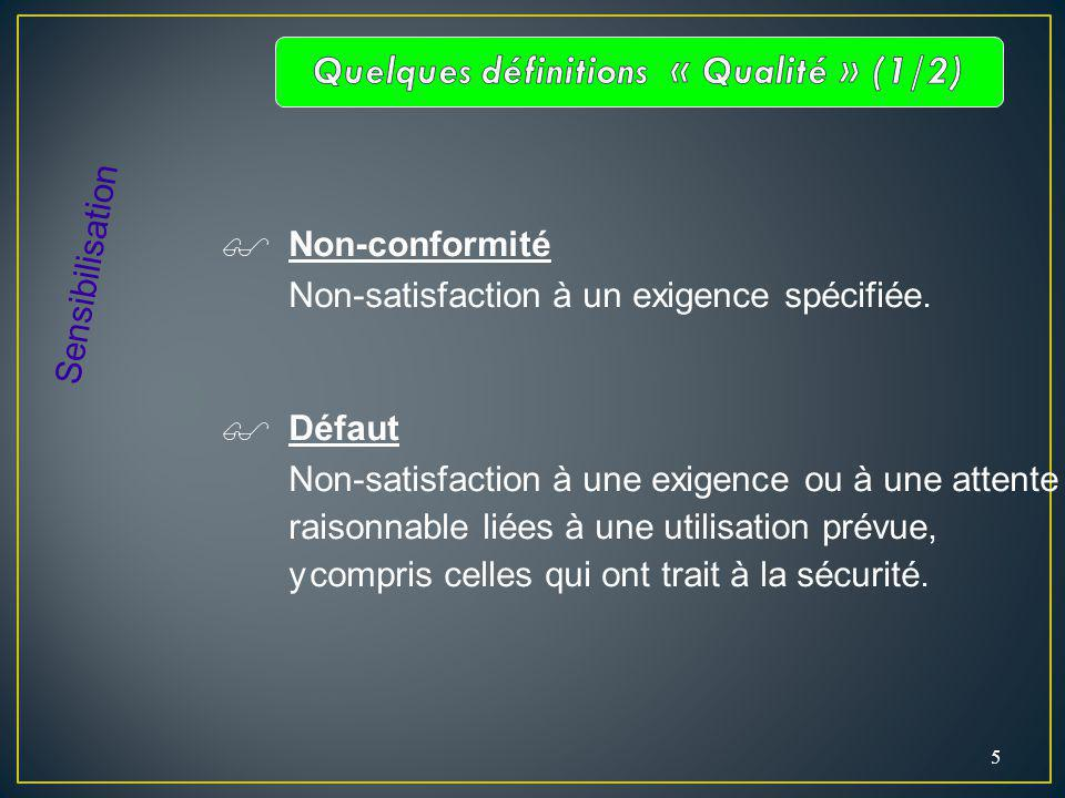 5 Non-conformité Non-satisfaction à un exigence spécifiée. Défaut Non-satisfaction à une exigence ou à une attente raisonnable liées à une utilisation