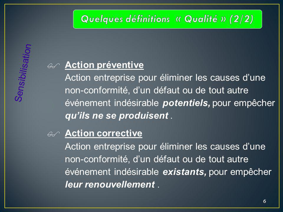 6 Action préventive Action entreprise pour éliminer les causes dune non-conformité, dun défaut ou de tout autre événement indésirable potentiels, pour empêcher quils ne se produisent.
