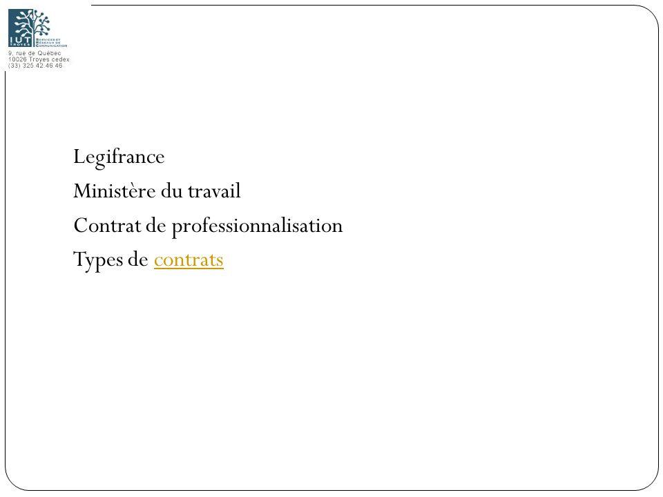 1 Legifrance Ministère du travail Contrat de professionnalisation Types de contratscontrats
