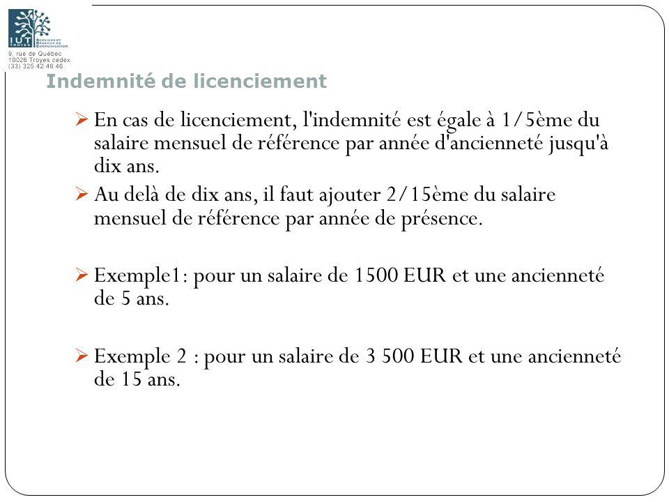 116 En cas de licenciement, l'indemnité est égale à 1/5ème du salaire mensuel de référence par année d'ancienneté jusqu'à dix ans. Au delà de dix ans,