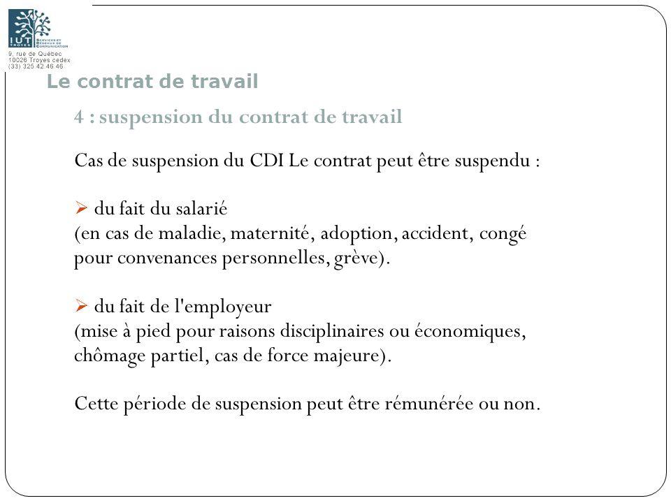 15 4 : suspension du contrat de travail Cas de suspension du CDI Le contrat peut être suspendu : du fait du salarié (en cas de maladie, maternité, ado