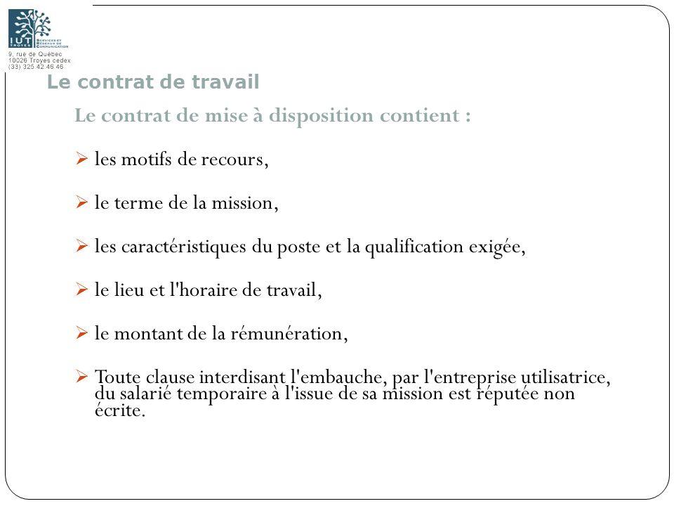 29 Le contrat de mise à disposition contient : les motifs de recours, le terme de la mission, les caractéristiques du poste et la qualification exigée