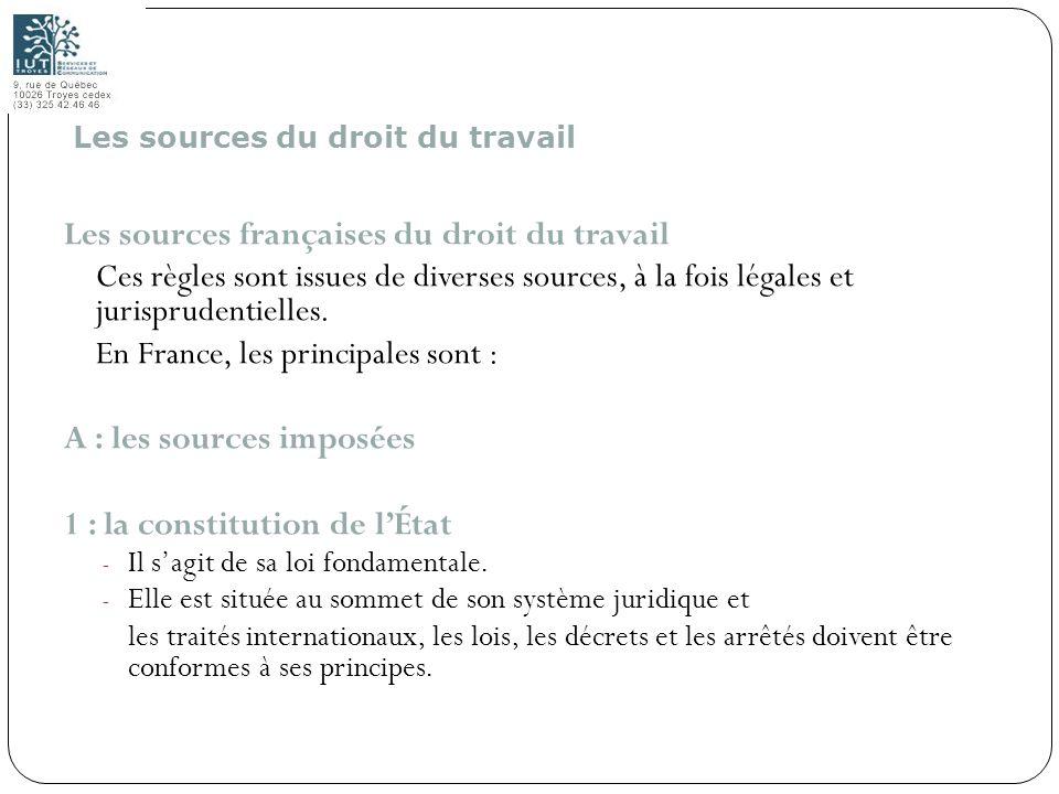 6 Les sources françaises du droit du travail Ces règles sont issues de diverses sources, à la fois légales et jurisprudentielles. En France, les princ