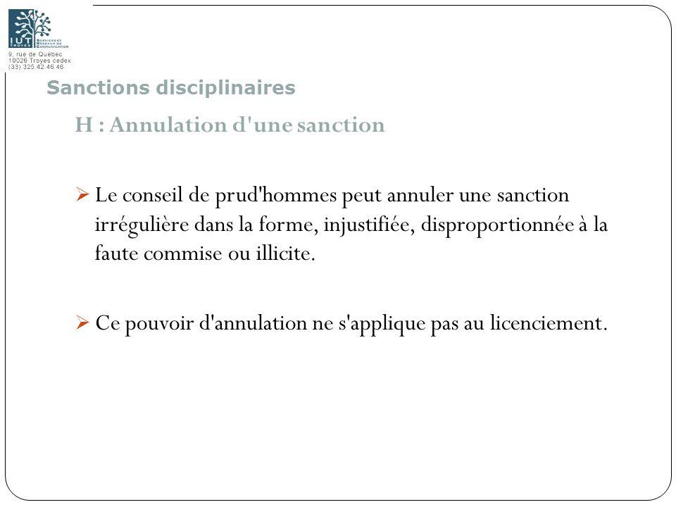 72 H : Annulation d'une sanction Le conseil de prud'hommes peut annuler une sanction irrégulière dans la forme, injustifiée, disproportionnée à la fau