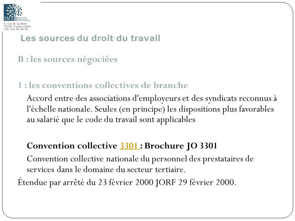 9 B : les sources négociées 1 : les conventions collectives de branche Accord entre des associations d'employeurs et des syndicats reconnus à l'échell