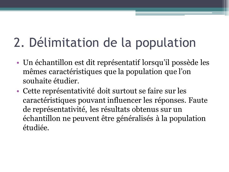 2. Délimitation de la population Un échantillon est dit représentatif lorsquil possède les mêmes caractéristiques que la population que lon souhaite é