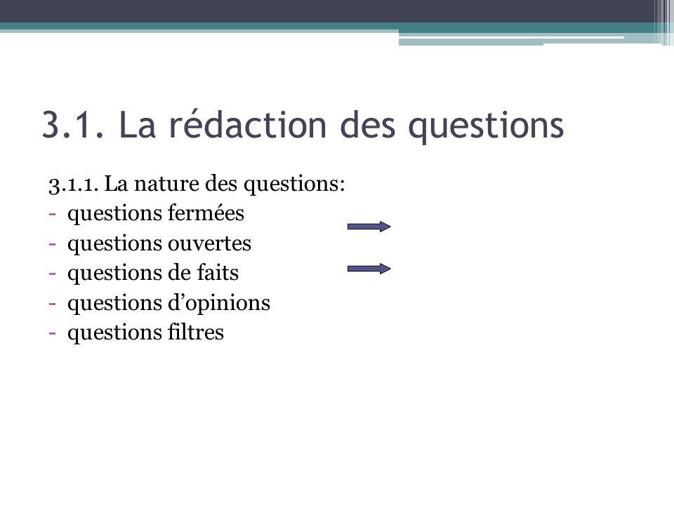 3.1. La rédaction des questions 3.1.1. La nature des questions: -questions fermées -questions ouvertes -questions de faits -questions dopinions -quest