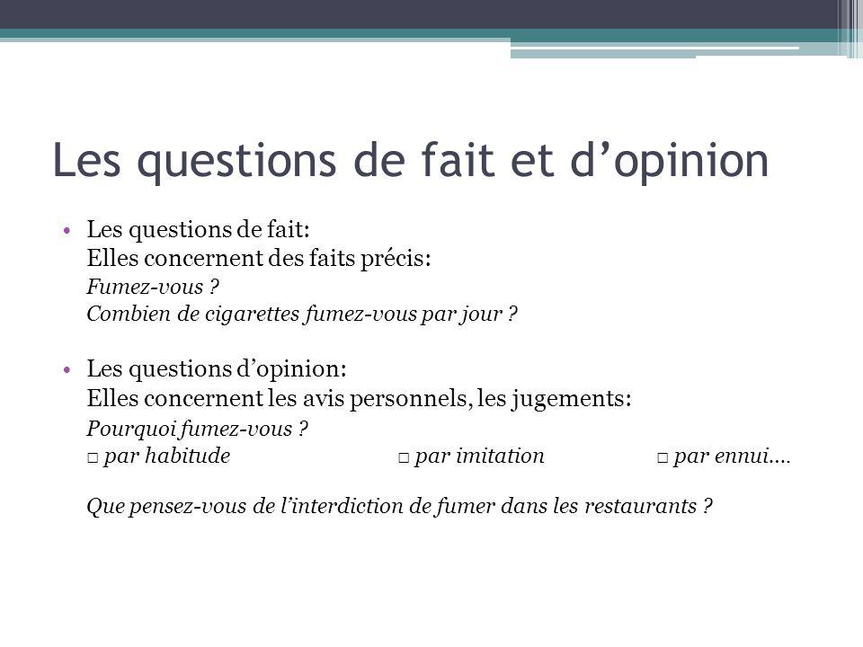 Les questions de fait et dopinion Les questions de fait: Elles concernent des faits précis: Fumez-vous ? Combien de cigarettes fumez-vous par jour ? L