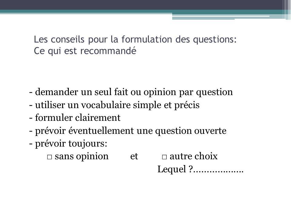 Les conseils pour la formulation des questions: Ce qui est recommandé - demander un seul fait ou opinion par question - utiliser un vocabulaire simple