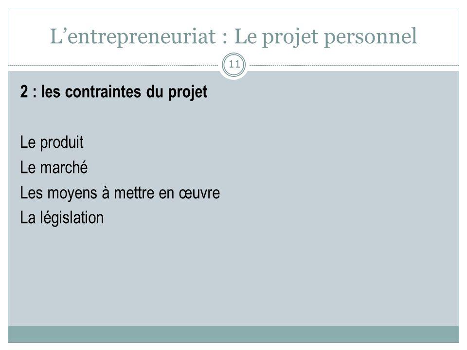 Lentrepreneuriat : Le projet personnel 2 : les contraintes du projet Le produit Le marché Les moyens à mettre en œuvre La législation 11