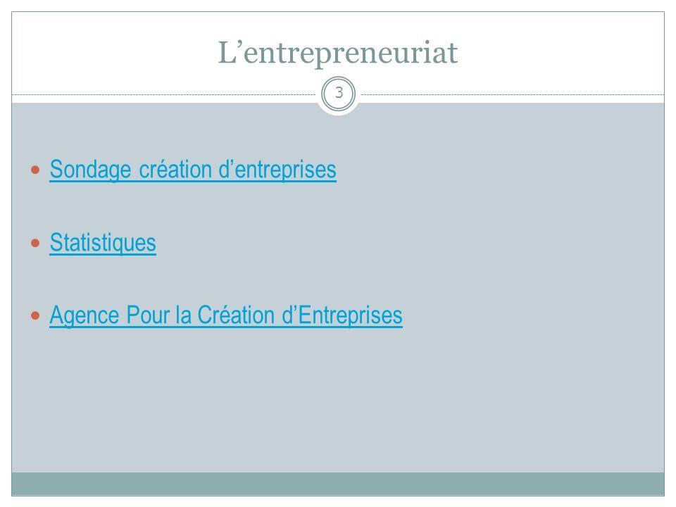 Lentrepreneuriat Sondage création dentreprises Sondage création dentreprises Statistiques Agence Pour la Création dEntreprises Agence Pour la Création
