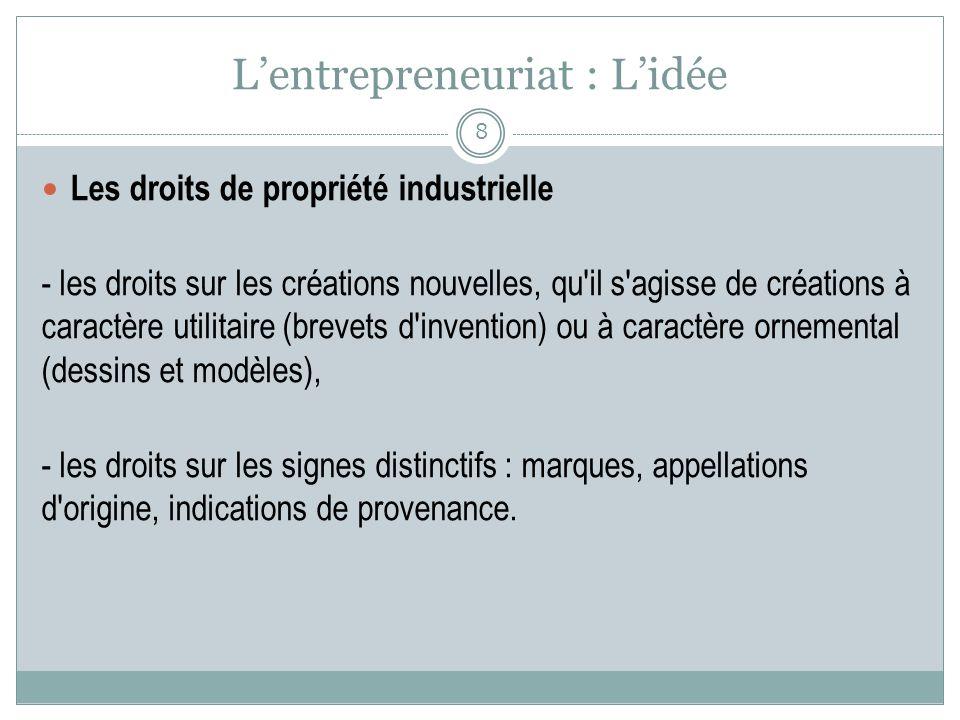 Lentrepreneuriat : Lidée Les droits de propriété industrielle - les droits sur les créations nouvelles, qu'il s'agisse de créations à caractère utilit