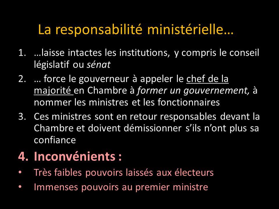 1.…laisse intactes les institutions, y compris le conseil législatif ou sénat 2.… force le gouverneur à appeler le chef de la majorité en Chambre à fo