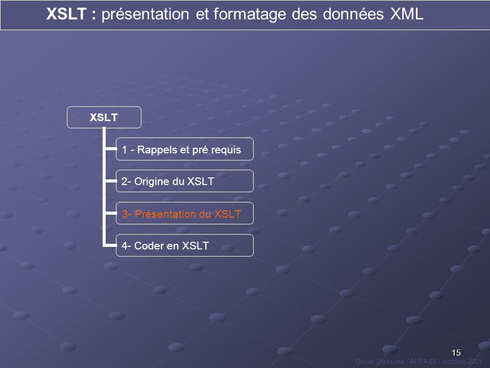 15 XSLT : présentation et formatage des données XML Olivier Massone / AFPA-DI / octobre 2005 XSLT 1 - Rappels et pré requis 2- Origine du XSLT 3- Prés