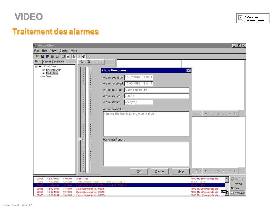 Maintenance de la base de données Video Verification 16 VIDEO