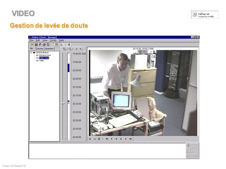 Traitement des alarmes Video Verification 17 VIDEO