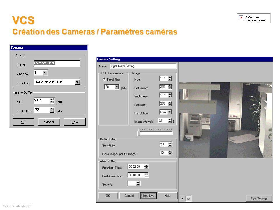 VCS Configuration de lUC vidéo distante WAN Création des caméras Paramètrages caméras Programmes Hebdo. Entrées Téléchargement paramètres Mise à jour