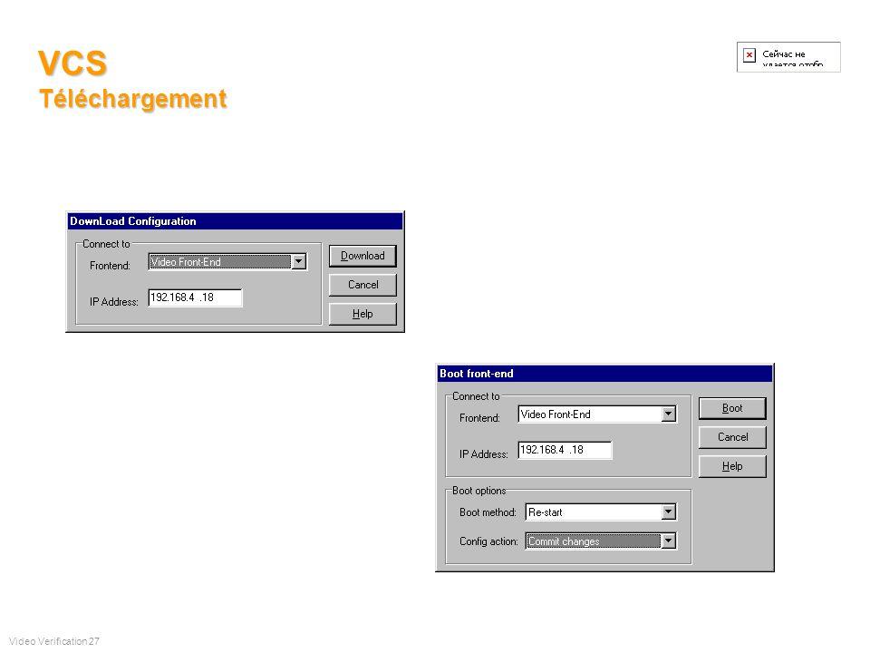 VCS Paramètrage des Programmes Hebdomadaires et des entrées Video Verification 26