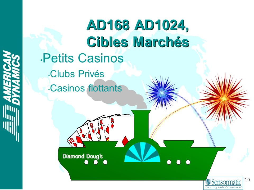 ® -10- Diamond Dougs Petits Casinos Clubs Privés Casinos flottants AD168 AD1024, Cibles Marchés